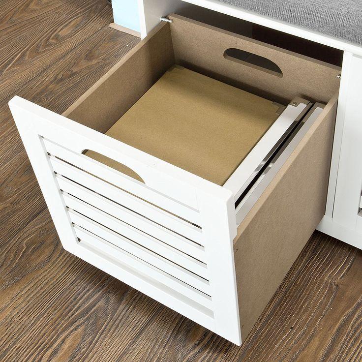SoBuy® Banco de almacenamiento con cojines y 2 cubos de entrada del gabinete Dresser zapato cómodo banco FSR23-K-W, ES: Amazon.es: Hogar