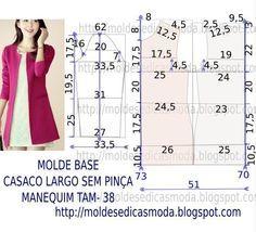 Passo a passo construção molde de casaco. O molde de casaco encontra-se no tamanho 38. A ilustração do molde de casaco não tem valor de costura.