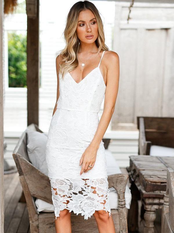 56917e07ee White Lace Condole Belt Mini Dress
