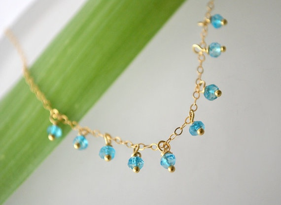 Blue Topaz and gold filled Necklace by ChaninBijoux on Etsy, $54.00