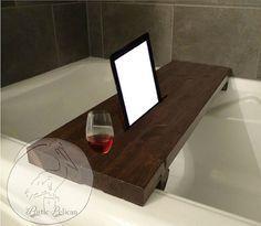 Rustic Bathtub Caddy -IPad -Wood Bathtub Tray -Bath shelf -reclaimed wood - barn wood -Tub Tray-Bathroom Decor-Farmhouse Tray- Country Caddy