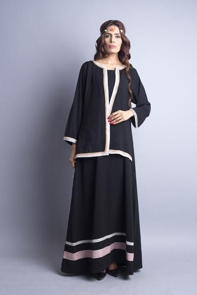 Trendy Casual Abaya - Black with pastel stripes and attached front bla – Chenille Boutique - Driven by our commitment to provide a luxurious image and soulful boutique