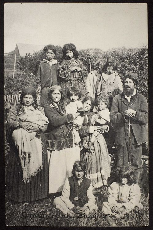"""A Romani family who came from Norway to northern Jutland in 1907. Title on the card is """"omvandrende zigeunere"""" which translates from Danish as """"wandering Gypsies"""". Author and publication unknown."""