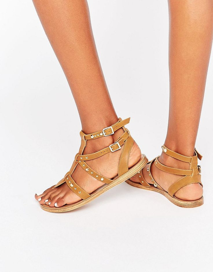 Image 1 ofFaith Stud Tan Leather Gladiator Flat Sandals