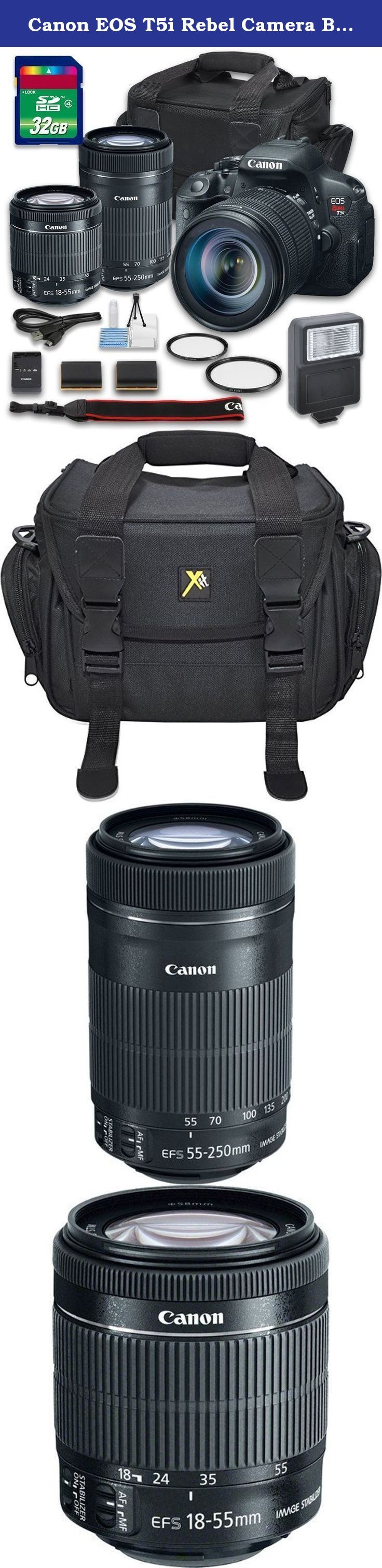 Canon EOS T5i Rebel Camera Bundle with Canon EF-S 18-55mm f/3.5-5.6 IS STM Lens + Canon EF-S 55-250mm f/4-5.6 IS STM Lens + 32 GB Memory Card + Camera Case + Flash - International Version. This Grace Photo Camera Bundle Includes: Canon EOS Rebel T5i DSLR Camera Canon EF-S 18-55mm f/3.5-5.6 IS STM Lens Canon EF-S 55-250mm f/4-5.6 IS STM Lens 2 PC UV Filters 32 GB Memory Card Starter Cleaning Kit Extra Battery Flash Camera Case .