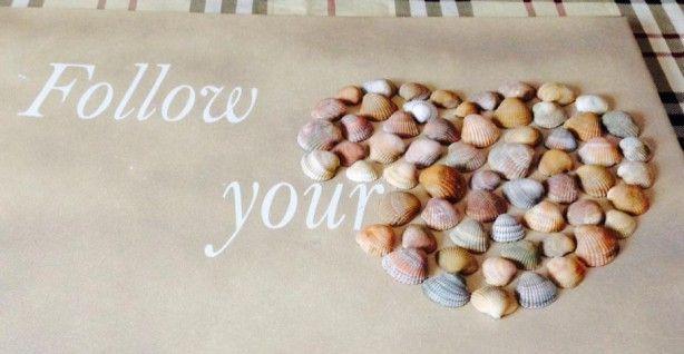 schilderij follow your heart met schelpen