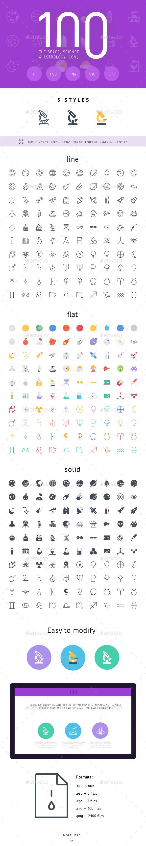 The Space, Science & Astrology Icons 100 — Photoshop PSD #planets #planets icons • Available here → https://graphicriver.net/item/the-space-science-astrology-icons-100/11335624?ref=pxcr