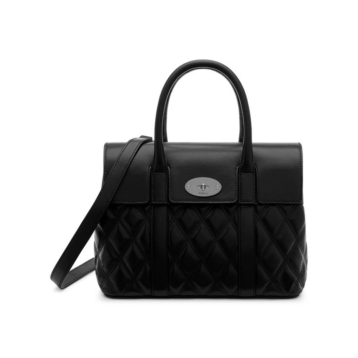 Small Bayswater | Black Silver Toned Quilted Smooth Calf | Women | Mulberry
