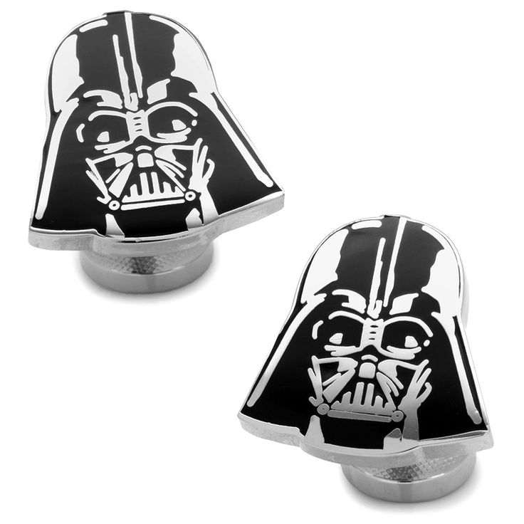 Recessed Matte Darth Vader Head Cufflinks