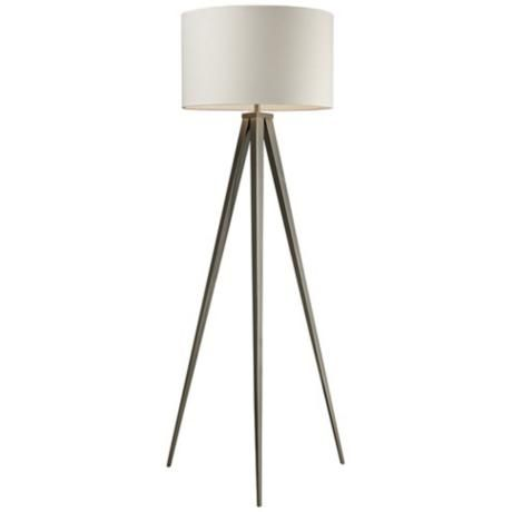 "Dimond Salford Satin Nickel Tripod Floor Lamp | Off-white linen, hard back drum shade | 1-150 watt 3-way bulb | 61"" high | $390"