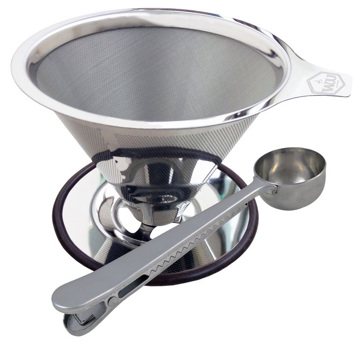 Pour Over Coffee Dripper w/ Scoop & Bag Clip, Single Cup Maker - Paperless Stainless Steel Filter