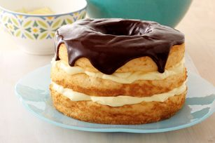 Boston Cream Pie Made Over – made-over version of classic Boston cream pie is airier, more delicate and low fat.