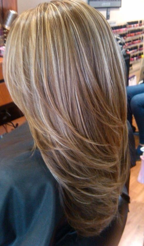 Light blonde highlights on medium brown hair