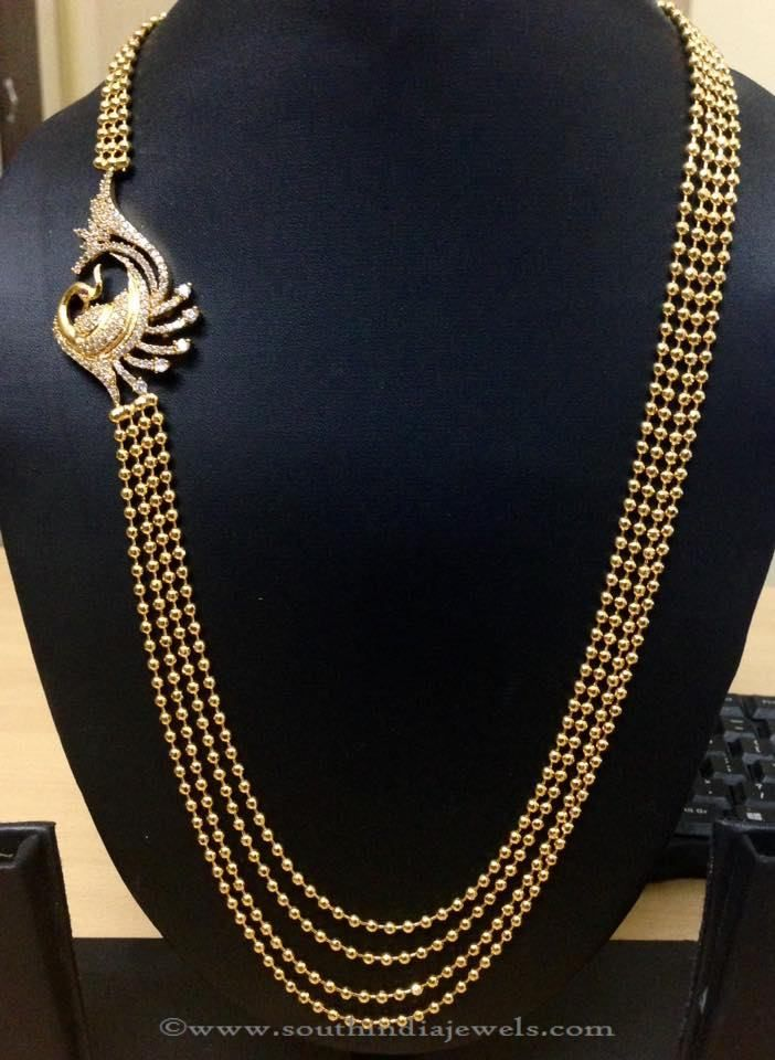 Gold Plated Multi Layer Haram with Peacock Side Locket