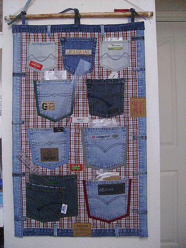 Wonderful DIY Hanging Jeans Pocket Organizer | WonderfulDIY.com