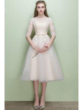 Modest Lace Cap Sleeve Lace Short Wedding Dress For Mature Brides