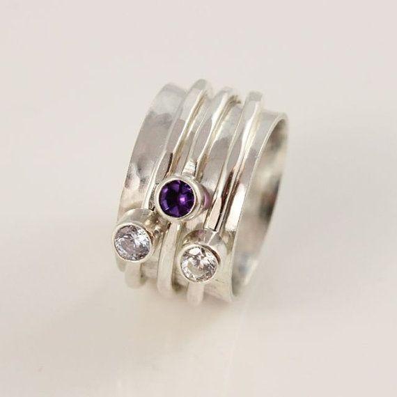 Gemstone Spinner Ring Birthstone Spinner by tinydaisiesdesigns, $235.00