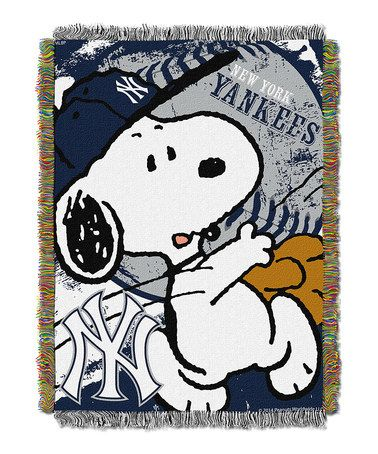Another great find on #zulily! Peanuts New York Yankees Tapestry Throw #zulilyfinds