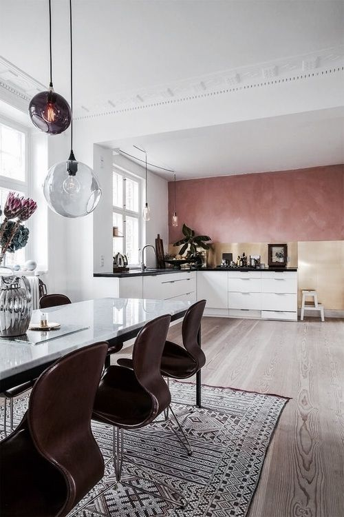 pink tadelakt | pink plaster paint wall in kitchen