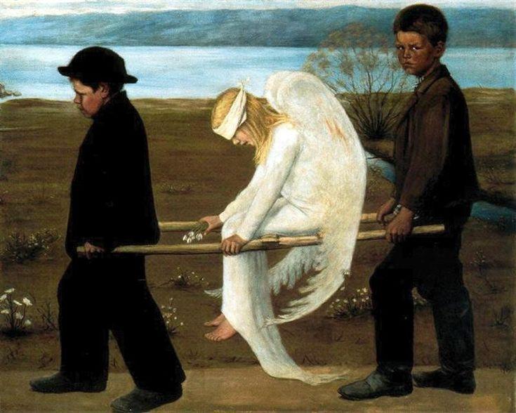 The Wounded Angel - Simberg Hugo Date: 1903 Style: Symbolism