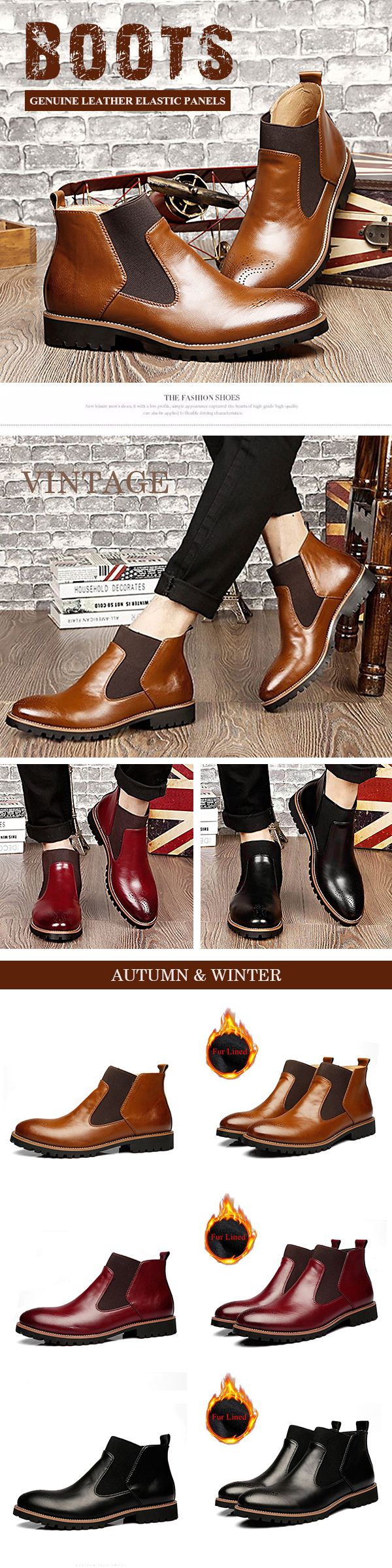 US$45.99 Men Vintage Pointed Toe Hollow Out Genuine Leather Elastic Panels Boots