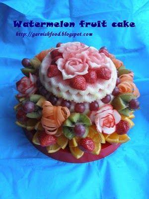 Fruit Carving Arrangements and Food Garnishes: Watermelon Fruit Cake