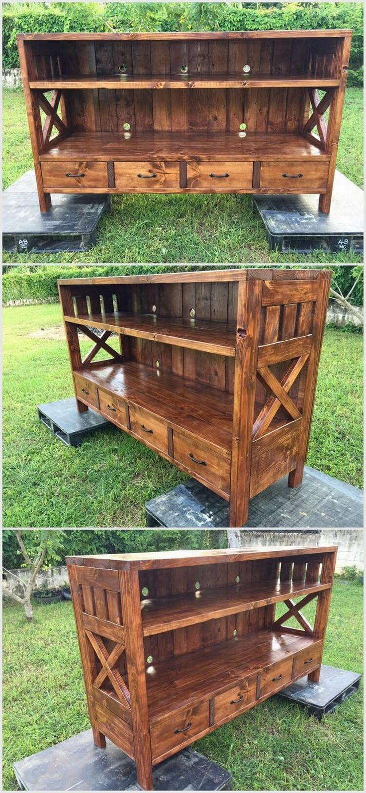 It is a very beautiful approach to use wooden pallets. You can make this furniture but before using wooden pallets, do not use polish. Once you have finished this project then you have to use paint and polish to beautify this furniture piece. It contains drawers at its lower section.