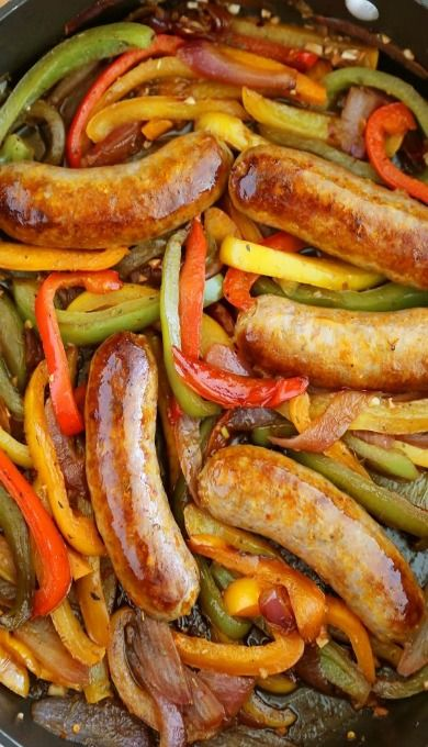Skillet Italian Sausages, peppers and onions