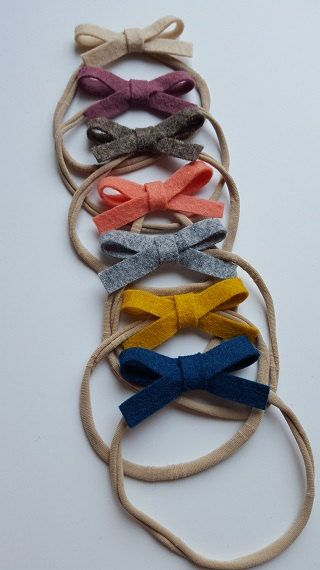 Dainty Wool Felt Bow on Nylon Headband or Hair Clip- CHOOSE ONE - Fall - by Gracie and Me