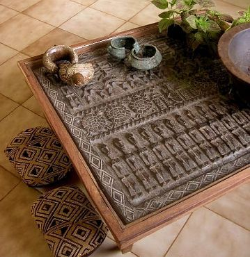 table made from traditional Dogon carved doors