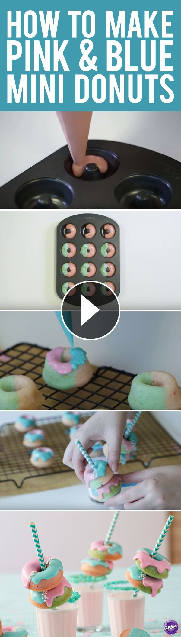 Click to watch how easy it is to make these cute Pink & Blue Mini Donuts! They are perfect for gender-neutral baby shower parties or as fun treats for family and friends. They are easy to make and customize to any colors you want.