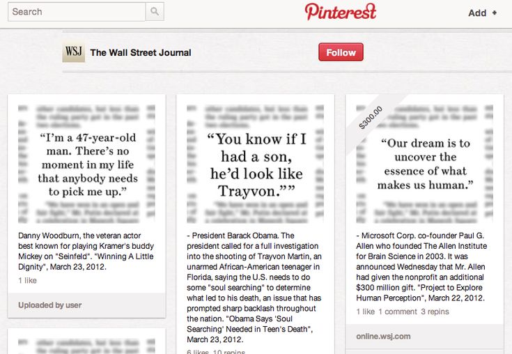 THE WALL STREET JOURNAL  The Wall Street Journal no deja de experimentar con Pinterest, como ya lo hemos contado. La fascinación por la red de los corchos que no deja de crecer continúa. Hoy, 10,000 words nos cuenta que WSJ ha creado un tablón para publicar las citas más importantes que aparecen en el periódico.