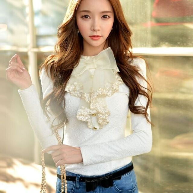 Original 2015 Brand Autumn and Winter Bottom Shirt White Plus Size Slim Fashion Stand Collar Ruffle Bow T Shirt Women Wholesale US $55.79 /piece Specifics Item Type 	Tops Tops Type 	Tees Gender 	Women Decoration 	Ruffles Clothing Length 	Long Sleeve Style 	Puff Sleeve Pattern Type 	Solid Brand Name 	d Style 	Fashion Fabric Type 	Jersey Material 	Polyester Collar 	Stand Color Style 	Natural Color Sleeve Length 	Full Model Number 	w23  Click to Buy :http://goo.gl/t9O329