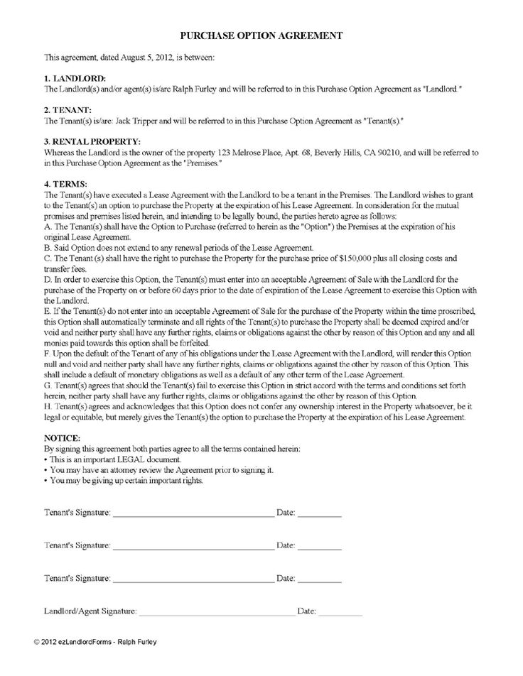 Lease Option Agreement / Lease Purchase Option | EZ Landlord Forms