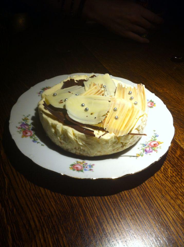 Bastogne parfait van witte chocolade met kerst gemaakt