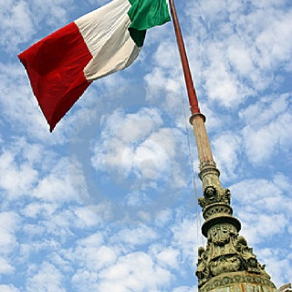 Flag of Italy - This flag is made up of three equal vertical tri-colored stripes (Green, White, & Red). The green stripe is always on the heading end - nearest to the pole. The colors of the flag represent; peace, honesty, hardiness, bravery, strength, hope, joy & love.