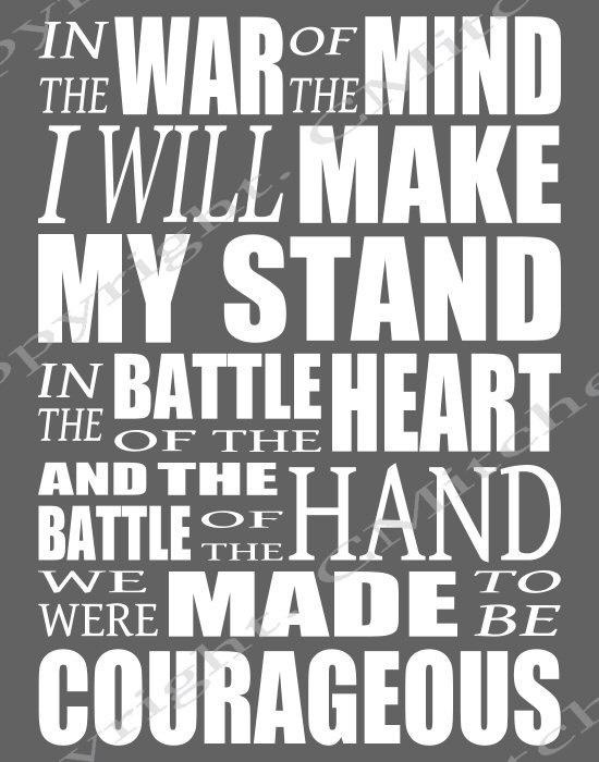 Courageous lyrics printable poster