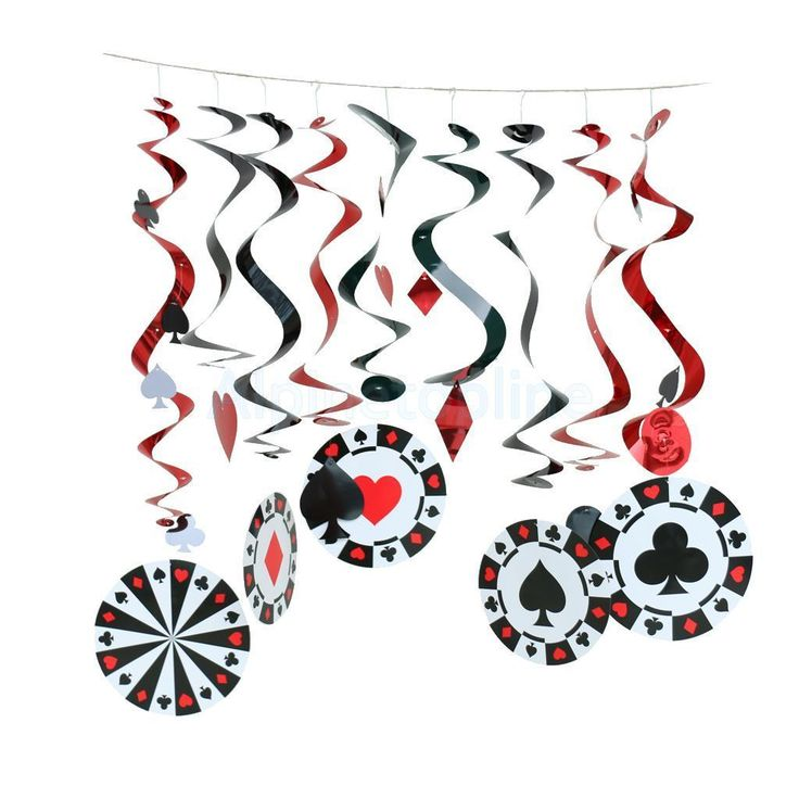 Casino Bets Playing Cards Night Complete Party Swirl Hanging Decorations