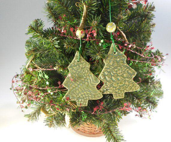 Christmas Tree Ornaments Set Of 2 Ceramic Tree Decoration Pottery Tree Christmas Ornament Christmas Tree Ornaments Ceramic Christmas Trees Ornament Set