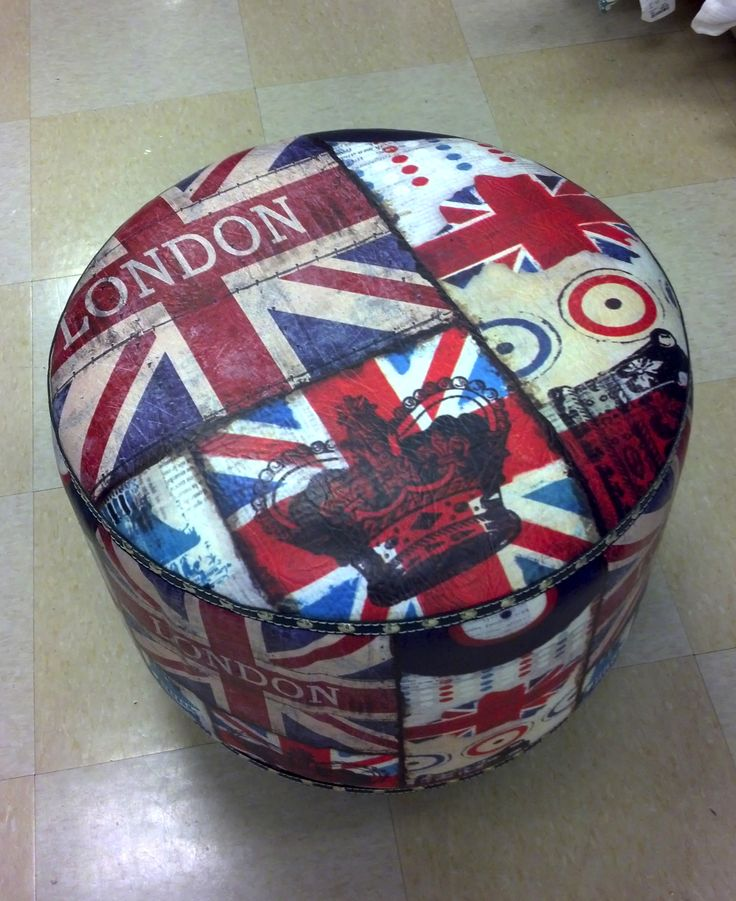 My Union Jack ottoman for our England themed bedroom