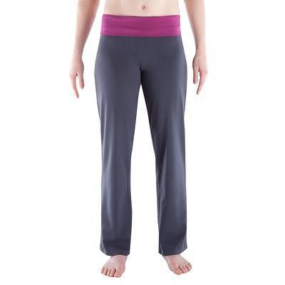 Fitness_habi Fitness - Broek biokatoen grijs/roze DOMYOS - Yoga en Pilates
