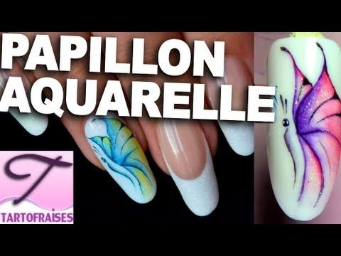 Nail art papillon aquarelle pastel - YouTube