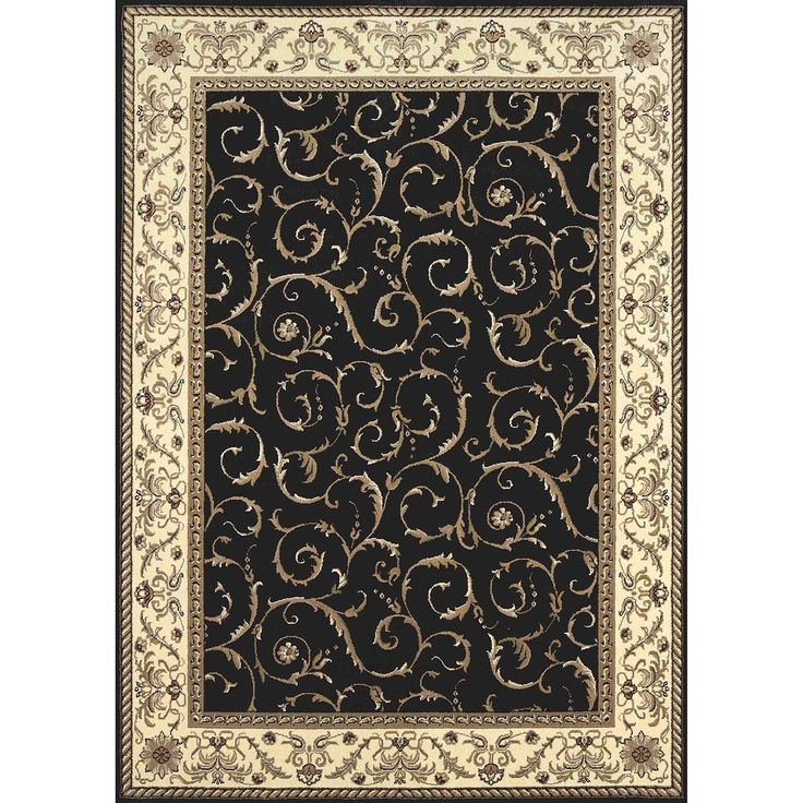 Admire Home Living Amalfi Scroll Black Oriental Rug (7u00279 X 11u0027)