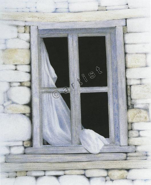 Σωτήρης Σόρογκας, Παλιό παράθυρο, 1998, ακρυλικό σε μουσαμά, 120 x 100 εκ.