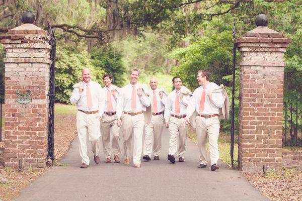 pink and brown groomsmen idea