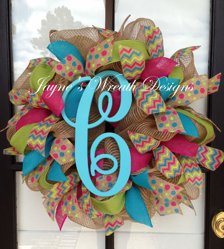 Spring/ Summer Burlap Wreath with polka dot, chevron, turquoise, pink & lime green burlap ribbons and single letter