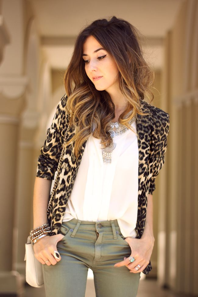 military green and leopard blazer