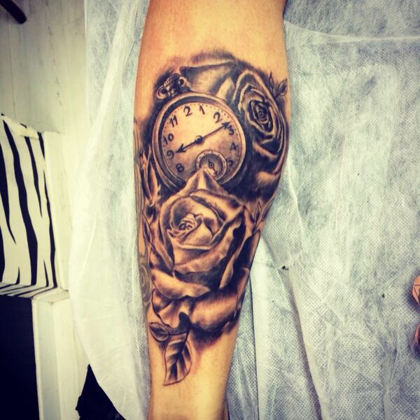 Roses watch tattoo new tatto leg tattoo inked for Time piece tattoos