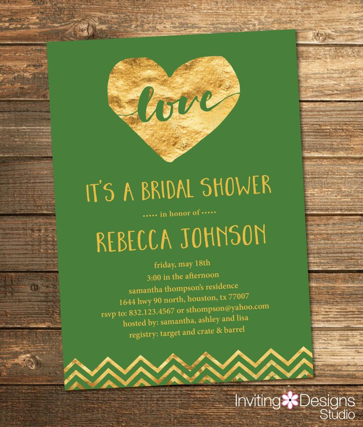 Green and Gold Bridal Shower Invitation Gold