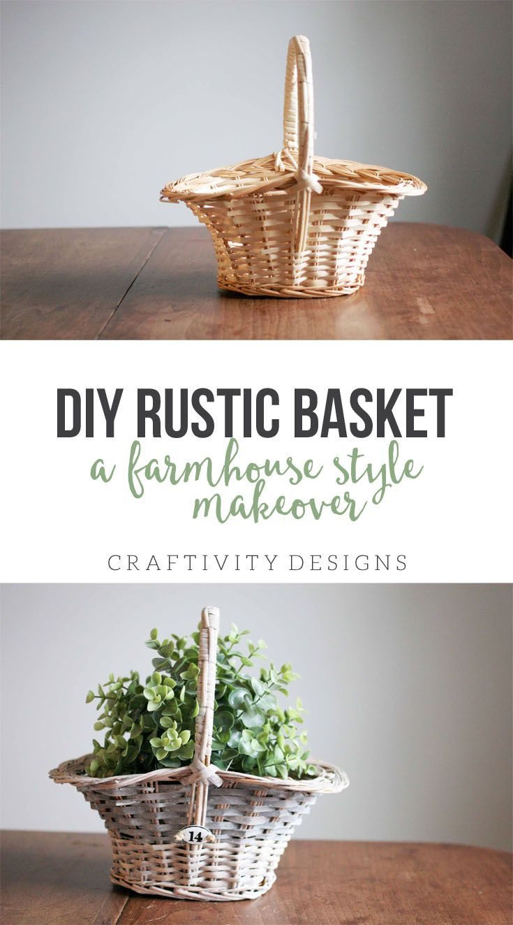 DIY Rustic Basket Makeover, How to make a DIY Rustic Basket. Turn a basic basket into a farmhouse style basket. Thrift Store Upcycle monthly challenge. by @CraftivityD